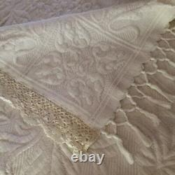 Fabulous OLD French MARCELLA BEDSPREAD White/White QUILT Boutis Piqué PROVENCE