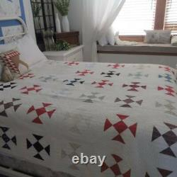 Farmhouse Perfect Antique c1880 Shoofly QUILT 76x67 Tight Triple Rod Quilting