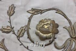 French Antique 19thC Gold Metallic HandEmbroidered On Silk Ecclesiastical Fabric
