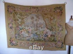 French Antique Magnificent Tapestry Regency Romantic Scene 6ft. 7 x 5ft. 2