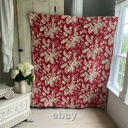 French Antique Quilt Piquee Boutis Red Large Scale Floral Lilac Striped Cotton