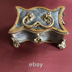 French Palais Royal Casket Sewing Jewellery Ormolu Silvered C1810