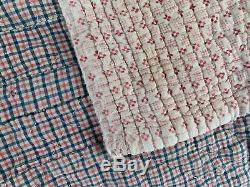 French antique Quilt Pink floral and red blue check textile c1820