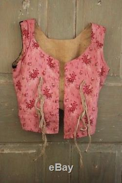 French bodice 18th century Antique folk dress 1770 with rump clothing