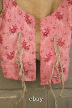 French bodice 18th century Antique folk dress c1770 with rump pink floral Corset