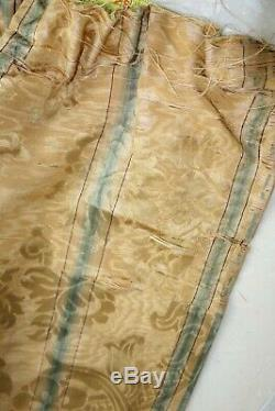 GORGEOUS SILK FRENCH ANTIQUE DRAPES PANELS PAIR CURTAINS LINED 10 Ft. + CLASSY