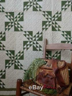Gorgeous! C1880 Antique Overdyed Green And White QUILT Such Great Quilting