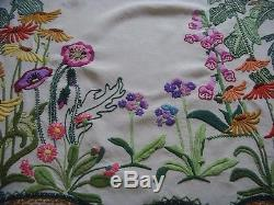 Gorgeous Vintage Hand Embroidered Linen Curtain Panel Cottage Garden Flowers