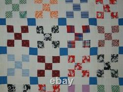 HAPPY ANTIQUE COUNTRY QUILT 9 PATCH BLUES and VINTAGE PRINTS