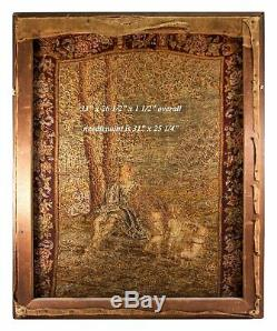HUGE 33 x 26.5 C 1830s Antique French Needlepoint, Petitpoint Tapestry, Frame
