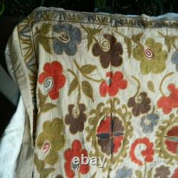 Hand Embroidered Uzbek Suzani Tapestry 3x5 ft Authentic Antique Linen Wall Decor