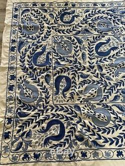 Hand Embroidered Wall Hanging Uzbek Silk Suzani Vintage Embroidery Blanket