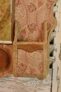 Heavenly Antique French Textile Hanging Boudoir / Vanity Tidy With Mirror 19th C