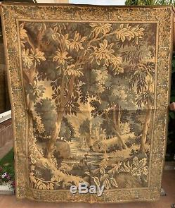 Huge Antique French Tapestry Wall Hanging Aubusson Style 140 X 175 Cm