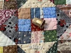 INCREDIBLE PA c 1890-1900 Postage Stamp QUILT Antique thousands 3/4 pcs
