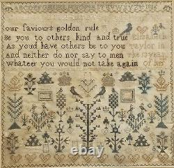 Immaculately Worked 1816 Religious Golden Rule Stitched Needlework Sampler