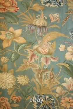 Indienne floral Curtain Antique French blue large scale exotic flowers drape old