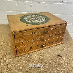 J & P Coats Vintage Sewing Cotton Box / Shop Counter Drawers Cabinet