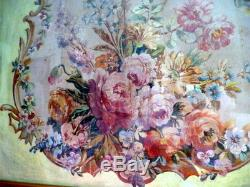 LARGE Framed Original 19th Century Aubusson Cartoon Floral Painting SHABBY CHIC