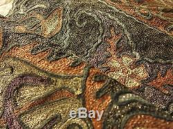 LARGE & ORNATE Antique OTTOMAN Turkish METALLIC EMBROIDERY Panel with TUGHRA SEAL