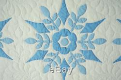 LARGE, WELL QUILTED Vintage 40's Blue & White Snowflake Applique Antique Quilt