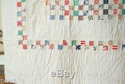 Large Vintage 30's Boston Commons Postage Stamp Antique Quilt SMALL PIECES