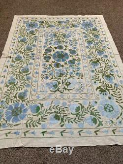 Large Vintage Handmade Beautiful Original Embroidery Uzbek Wall Hanging Suzani
