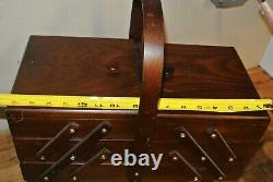 Large Vintage Wood Accordion Sewing Box (Dove Tail) Floor Stand Expandable