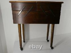 Large Vintage Wooden Cantilever 2 Tier Sewing Box/storage With Legs & Wheels G35