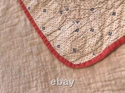 Late 1800's Antique Nine Patch Variant Hand Sewn Quilt 66x 77 Red Pink Black