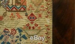 Late 19th Century Cat On A Cushion & Motif Sampler By M. Davies Aged 11 1893