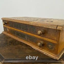 Lovely Vintage Antique Dewhursts Sylko Wooden Chest of 2 Drawers Sewing Box