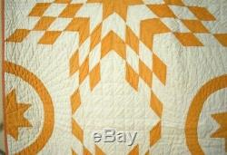 MAGNIFICENT Vintage 1880's Cheddar Yellow & White Stars & Circles Antique Quilt