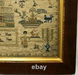 MID 19th Century Church, People, Verse & Motif Sampler By Sarah Hunt Aged 6 1856