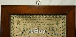 MID 19th Century House, Figures, Motif & Verse Sampler By Phillis Francis 1841