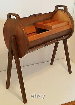 MID CENTURY Masterpiece in WOOD Roll Top CYLINDER SEWING BOX Yugoslavia Cabinet