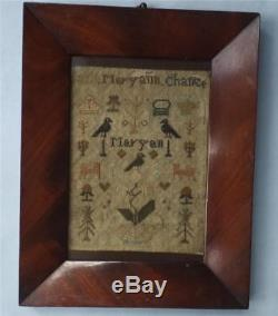 MINIATURE GEORGIAN SAMPLER MARYANN CHANEE 1828 in FIGURED MAHOGANY FRAME