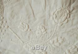 MUSEUM QUALITY Vintage 1840's All White Bride's Quilt BEST EVER TRAPUNTO WORK