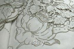 Madeira Embroidery Linen Tablecloth Banquet 103 Fine Taupe Handwork Many Roses