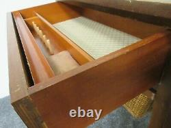 Mid Century Danish Sewing Table With Drawer and Basket Vintage Drop Leaf