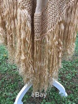 OUTSTANDING 84 Piano Shawl Antique Silk Hand Embroidered Scarf With Long Fringe