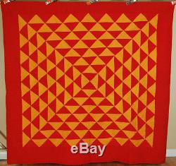 OUTSTANDING Vintage 1890s Red & Cheddar PA Mennonite Antique Quilt GREAT DESIGN