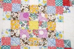 OUTSTANDING Vintage Feed Sack Hand Sewn TRIPLE IRISH CHAIN Postage Stamp QUILT