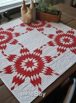 Only One! Master Quilting Antique Red & White Star Table or Crib QUILT 33 GIFT
