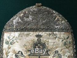 Outstanding Antique Monstrance Cover Veil Embroidery on Silk 18-19th c Gold Work