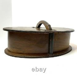 Oval Bent Wood Double Sided Sewing Box Basket Handle Hinged Lid Shaker Style