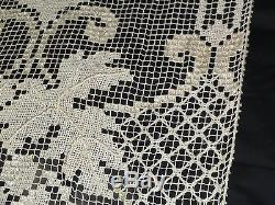 Pair Of Antique Italian Lace Curtains With Embroidery And