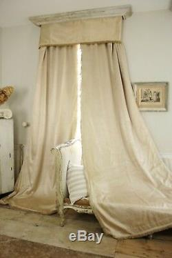 Pair curtains & valance Antique French raw silk for tall ceilings drapes 1930's