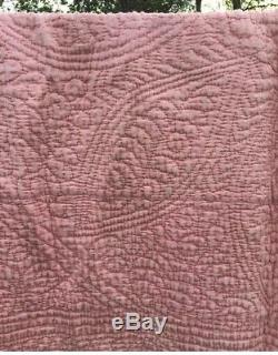Pink Durham Whole Cloth Quilt Antique Hand Stitched Reversible Bedspread 1920