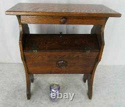 RARE Oak Sewing Knitting Arts Craft Stand Table Storage Double Doors w Drawer